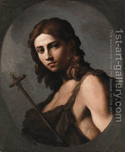 Saint John the Baptist, feigned oval by (after) Giovanni Domenico Cerrini - Reproduction Oil Painting