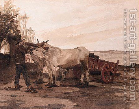 Oxen in a Field with a Farmer adjusting their Harness by (after) Giovanni Fattori - Reproduction Oil Painting