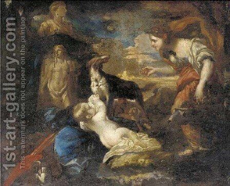 The Finding of the Infant Cyrus by (after) Giovanni Francesco Castiglione - Reproduction Oil Painting