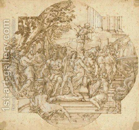 Hercules and Omphale with nymphs on a staircase leading to a fountain Design for a compartment by (after) Giovanni Francesco Romanelli - Reproduction Oil Painting