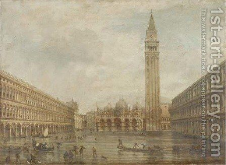 Floods at the Piazza San Marco, Venice by (after) Giovanni Grubacs - Reproduction Oil Painting
