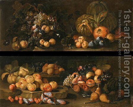 Grapes and Apples in glass Bowls by (after) Giovanni Paolo Spadino - Reproduction Oil Painting
