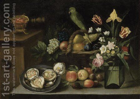 Still life with a parrot by (after) Giovanni Quinsa - Reproduction Oil Painting