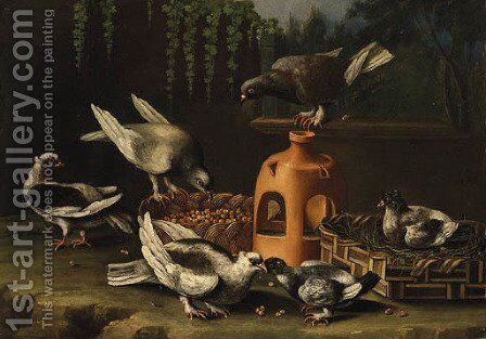 Pigeons feeding from a Basket by a stoneware Vase in a Garden by (after) Giovanni Quinsa - Reproduction Oil Painting