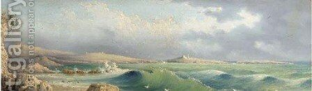 A heavy swell in St. Paul's Bay, Malta by (after) Girolamo Gianni - Reproduction Oil Painting