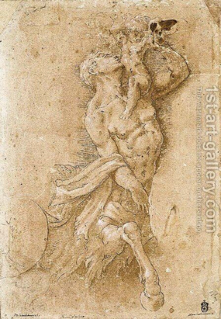 A triton holding a putto by (after) Giulio Campi - Reproduction Oil Painting