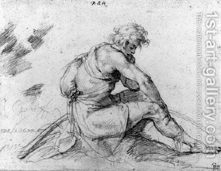A seated shepherd, in profile to the right by (after) Giuseppe (d'Arpino) Cesari (Cavaliere) - Reproduction Oil Painting