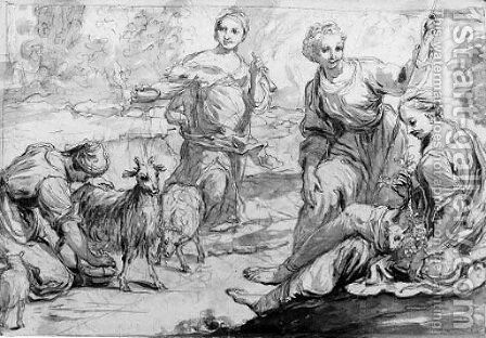 Muses and a shepherdess milking a goat by (after) Giuseppe Maria Crespi - Reproduction Oil Painting