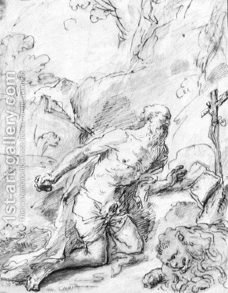 Saint Jerome in the desert by (after) Giuseppe Passeri - Reproduction Oil Painting