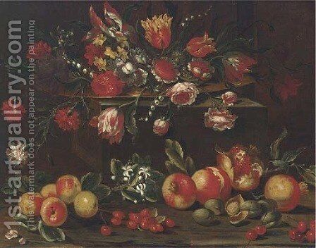 Carnations, tulips, roses, narcissi and other flowers in a dish on a ledge with pomegranates, cherries and nuts below by (after) Giuseppe Recco - Reproduction Oil Painting
