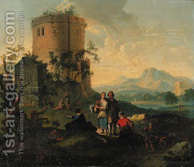A river landscape with peasant women resting and an angler by farm buildings beyond by (after) Giuseppe Zais - Reproduction Oil Painting