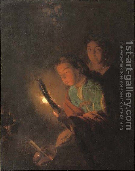 A young man blowing his torch to light a candle by (after) Godfried Schalcken - Reproduction Oil Painting