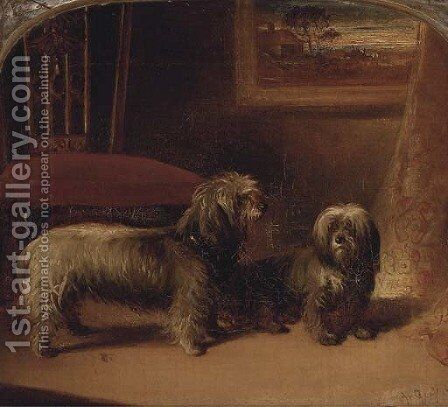 Two dandie dinmont terriers in an interior by (after) Gourlay Steell - Reproduction Oil Painting