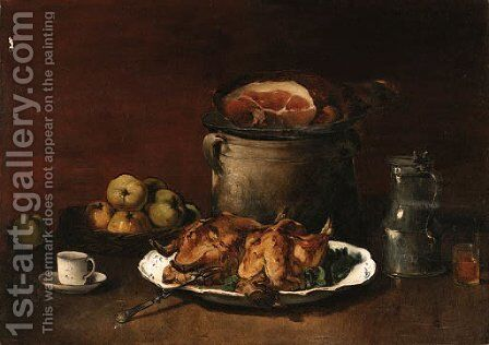 A hearty meal by (after) Guillaume-Romain Fouace - Reproduction Oil Painting