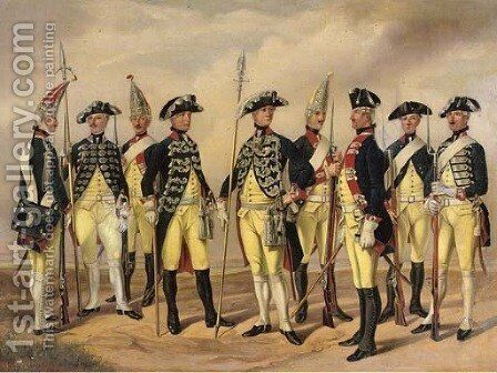 The Prussian Military in circa 1786 Soldiers of the Infantry and Artillery by (after) Gustav Schwartz Or Schwarz - Reproduction Oil Painting
