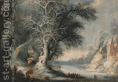 Woodcutters in a winter landscape, a town beyond by (after) Gijsbrecht Leytens - Reproduction Oil Painting