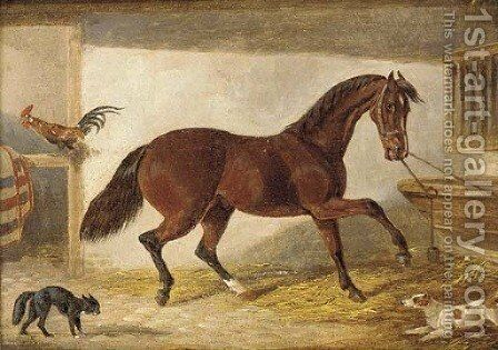 A hunter in a stable by (after) H. S. Cotterill - Reproduction Oil Painting