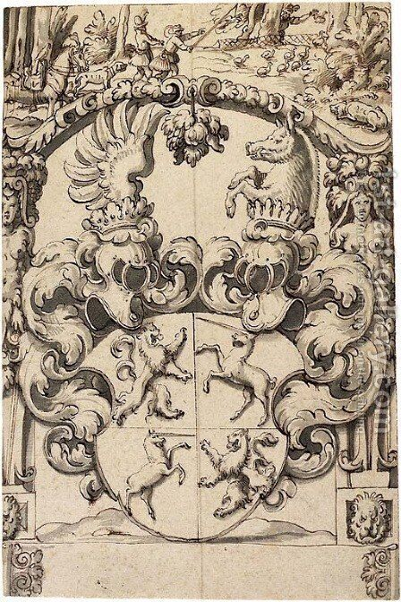 A heraldic shield with rampant lions and unicorns in the quarterings by (after) Hans Jakob Plepp - Reproduction Oil Painting