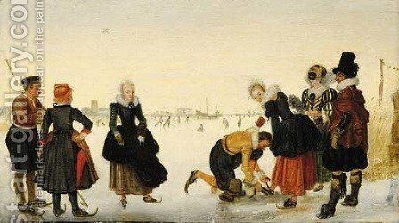 Elegant ladies and gentlemen taking to the ice on a frozen river with skaters and a town beyond by (after) Hendrick Avercamp - Reproduction Oil Painting