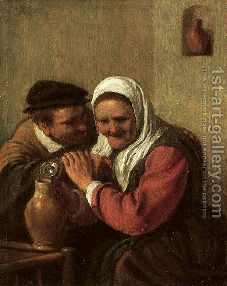 A peasant couple drinking in an interior by (after) Hendrick Maertensz. Sorch (see Sorgh) - Reproduction Oil Painting