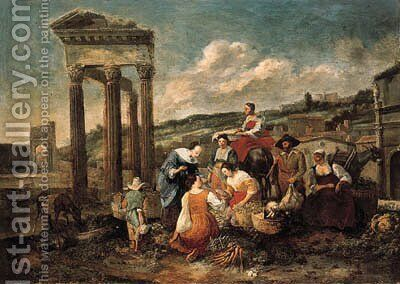 An Italianate market by a ruined temple by (after) Hendrick Mommers - Reproduction Oil Painting