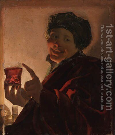 A boy holding a roemer of wine by candlelight by (after) Hendrick Terbrugghen - Reproduction Oil Painting