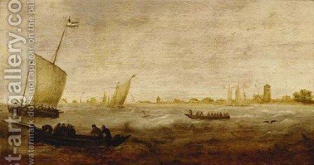 Sailors in a rowing boat with smalschips off a coastline by (after)  Hendrik Van Anthonissen - Reproduction Oil Painting