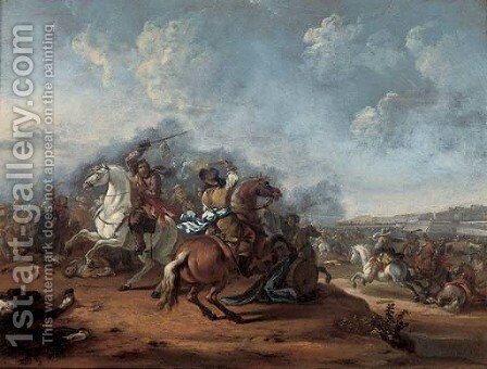A cavalry skirmish by (after) Hendrick Verschuring - Reproduction Oil Painting