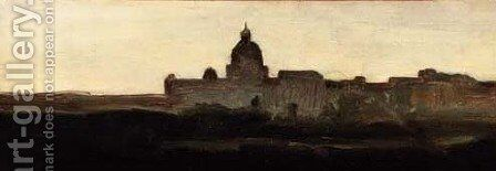 St Peter's, Rome by (after) Henri-Joseph Harpignies - Reproduction Oil Painting
