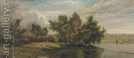 Anglers on a tranquil stretch of the river by (after) Henry John Boddington - Reproduction Oil Painting