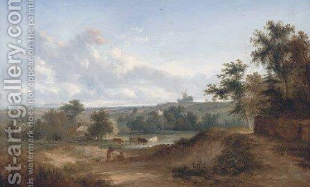 Drovers resting in an extensive landscape, a windmill beyond by (after) Henry John Boddington - Reproduction Oil Painting
