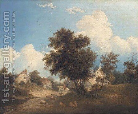 Entrance to Thorpe, Derbyshire by (after) Henry John Boddington - Reproduction Oil Painting