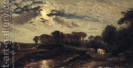 Cattle in a moonlit River Landscape by (after) Henry William Banks Davis - Reproduction Oil Painting