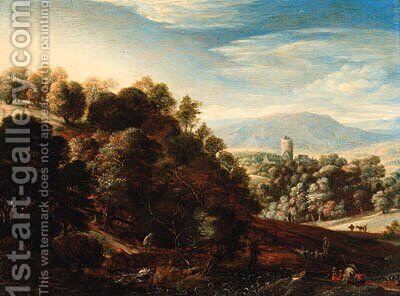 A wooded landscape with shepherds resting on a hillside by (after) Herman Saftleven - Reproduction Oil Painting