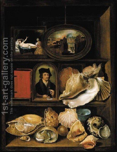 A still life of shells, paintings and books on recessed shelves by (after) Hieronymus II Francken - Reproduction Oil Painting