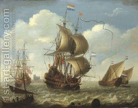 English and Dutch men-o'-war on the river Merwede, Dordrecht beyond by (after) Hieronymus Van Diest - Reproduction Oil Painting