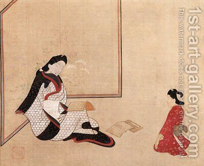 Beauty and attendant by (after) Hishikawa Morofusa - Reproduction Oil Painting