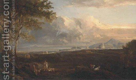 Hunters and their dogs before an extensive view of Edinburgh by (after) Horatio Macculloch - Reproduction Oil Painting