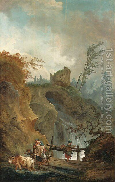 An Italianate landscape with peasants on a bridge before a waterfall by (after) Hubert Robert - Reproduction Oil Painting