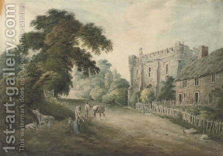 Rustic figures before a gate tower by (after) Hugh William Williams - Reproduction Oil Painting