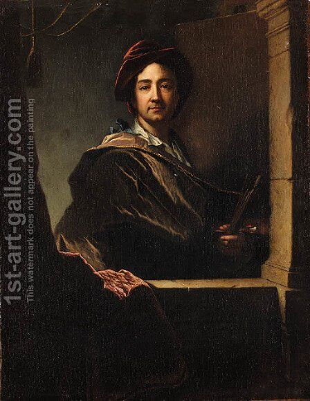 Portrait of the artist 2 by (after) Hyacinthe Rigaud - Reproduction Oil Painting