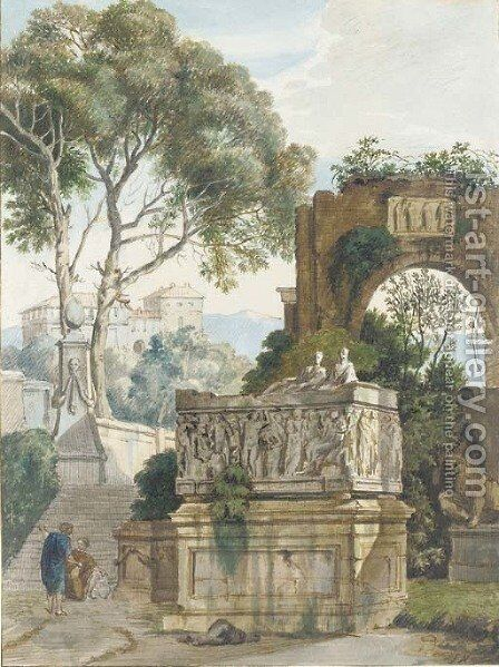A classical landscape with two women by a Roman sarcophagus by (after) Isaac De Moucheron - Reproduction Oil Painting