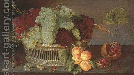 Grapes in a basket, a pomegranate, a bunch of apricots and a sparrow on on a ledge by (after) Isaak Soreau - Reproduction Oil Painting