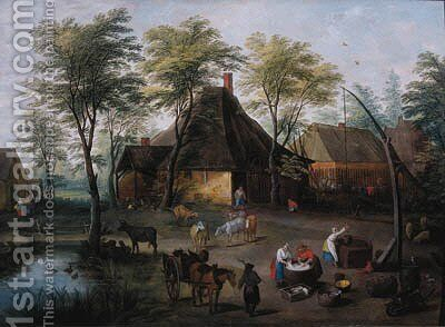 Peasants at work in a farmyard by (after) Isaak Van Oosten - Reproduction Oil Painting