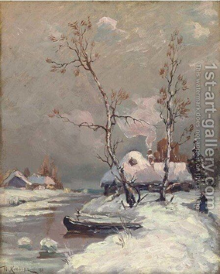 Riverside cottages in the snow by (after) Iulii Iul'evich (Julius) Klever - Reproduction Oil Painting