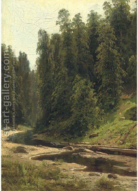 River in the forest by (after) Ivan Shishkin - Reproduction Oil Painting