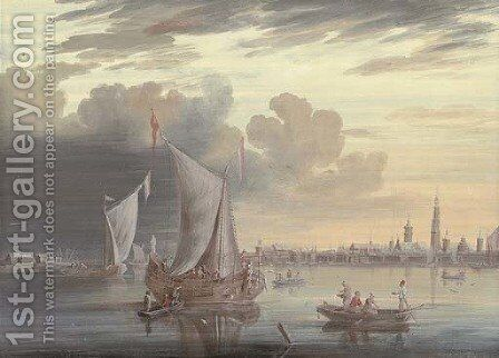 Smalschips lying on the Amstel, Amsterdam by (after) Johannes De Blaauw - Reproduction Oil Painting