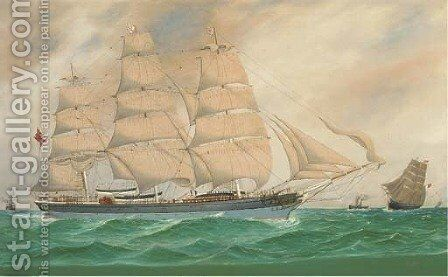 The British full-rigger Wiltshire and other shipping at sea by (after) J. Fannen - Reproduction Oil Painting