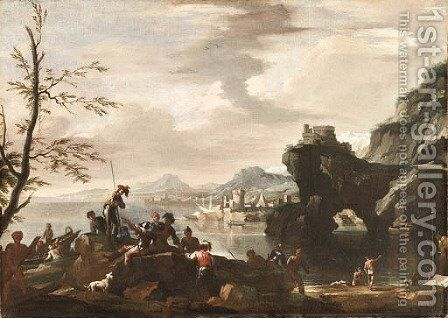 A Mediterranean coastal Landscape with Banditti in the foreground by (after) Jacob De Heusch - Reproduction Oil Painting