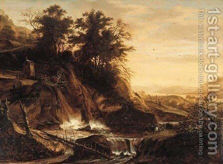 Fallen trees by a waterfall in a mountainous landscape by (after) Jacob De Villeers - Reproduction Oil Painting